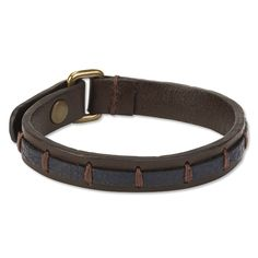 """A richly colored band of leather sewn to a ½""""-wide strap of cowhide leather gives this bracelet distinctive looks and rugged character. Antiqued brass closure. In brown/navy. Imported. <br />Sizes: M(8¼""""L), L(8¾""""L)."""