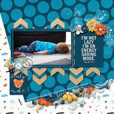 I love unconventional placements of patterned paper-Liam Naps by aurian, scrapbook layout with 1 photo, love the use of blue with small bits of orange and yellow as accents