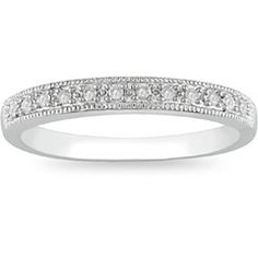 1/10 CT. T.W. Diamond Miligrain Wedding Band in 10K White Gold - View All Rings - Zales $287.10