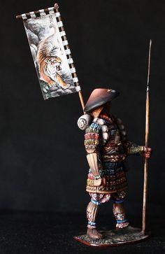 Samurai with Standard Tin toy soldier 54 mm., figurine, metal sculpture. #Spbdolls