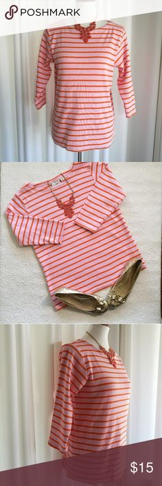 "L. L. Bean Striped Pullover Size Large Size large L. L. Bean pink with orange stripes, 3/4 sleeves, boat neck pullover. Medium weight 100% Cotton. Pre-owned good condition Pit to pit flat 19"" Pit to bottom hem 16"" L. L. Bean Tops Blouses"