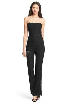DVF Camra Strapless Lace Jumpsuit