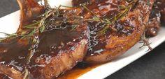 Close-up of pork chops glazed with honey balsamic