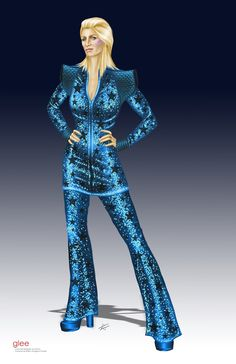 """Concept art of Jane Lynch as Sue Sylvester in Ziggy Stardust costume from """"Glee"""" (2009) by Imogene Cheyes."""