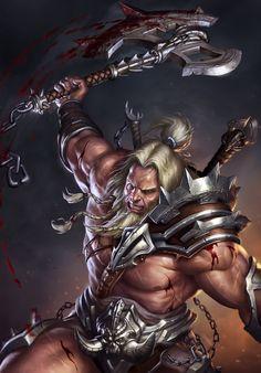 m Barbarian Axe underdark hilvl Diablo 3 - Barbarian by SirenD Fantasy Male, Fantasy Warrior, Dark Fantasy Art, Viking Art, Viking Warrior, Warrior Tank, Fantasy Character Design, Character Art, Vikings