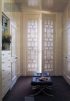 Love the shutter for light and privacy in this closet