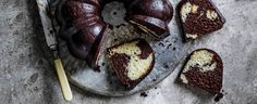 Chocolate marble cake with mocha glaze