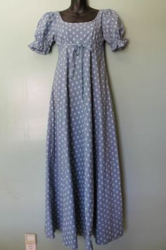Vintage Laura Ashley Regency Dress Wedgwood Blue Jane Austen Dress UK10 US 0-2
