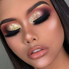 Hair and beauty – makeup ojos Glam Makeup Look, Sexy Makeup, Gold Makeup, Prom Makeup, Beauty Makeup, Mua Makeup, Makeup Lips, Makeup Goals, Makeup Inspo