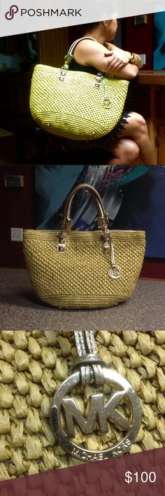 Michael Kors santorini straw large tote bag In lightly used condition. No defects or stains. Color is more of a light mustard yellow.      .                                    u MICHAEL Michael Kors Bags