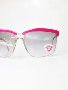 Neon Pink Sunglasses Made in Italy Vintage 1970s Oversized Boxy Wayfarer Indie Chic 70s Retro Bright Magenta Womens Ladies Girls Colorful