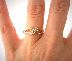 Xuping Rhinestone Cluster Fashion Ring Open Work Gold Tone Size 5.75 #Xuping #Cluster