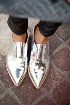 women's shoes metallic oxfords
