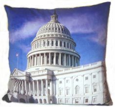 """USA capitol Hill building scenery 2 side pillow cushion cover handmade 18""""   eBay"""