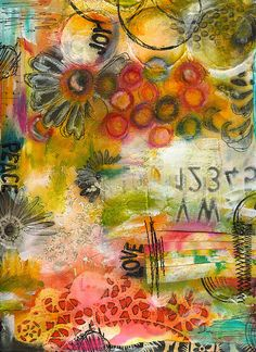 robenmarie:collage mixed media ink paint stamping oil pastels acrylic (Somerset Studios mag 2011)