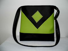 Black and green faux leather tote cross by MelindasSewingCorner