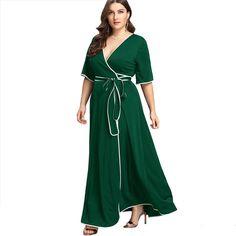 312b411701059 Contrast Binding Self Belted Wrap Dress Summer Deep V Neck Half Sleeve Maxi Dress  Women Plus Size Green Dress