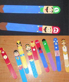 My handpainted bookmarks... luigi and mario, the flash, superman, wolverine, wonder woman, ironman, spiderman, the hulk, captain america, and random female super hero... Idea from http://craftsbyamanda.com/2012/05/avengers-bookmarks-craft-for-kids.html