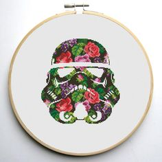 Floral Stormtrooper Helmet 2 Cross Stitch Pattern | Craftsy