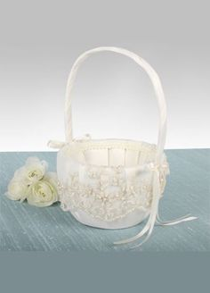 Ivory Flower Girl Basket adorned with a beautiful embroidered lace pattern accented with sequins and pearls.