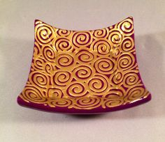 Catchall Dish Purple Plum with Gold Swirls by chutneyblakedesigns