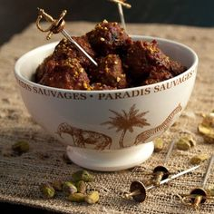 Not the MOST beautiful image, but I love the swords :-) And there's a recipe.  Win Win.   Moroccan Meatballs WITH TINY SWORDS IN THEM!