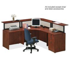 NDI Office Furniture PL11 Deluxe Reception L-Shaped Desk Suite by NDI Office Furniture. $1075.95. Create an instant office reception desk with this L-shaped office desk and reception counter. This deluxe reception desk features glazed plastic panels for a sleek modern look. No guess work needed to mix and match office furniture when you can order a complete PL Series No. 11. Office Suite available in several color finishes.