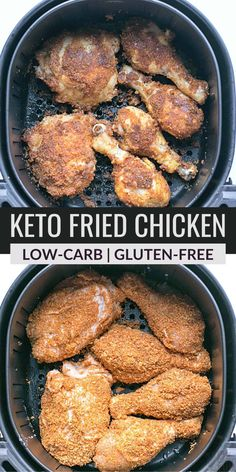 It's easy to make keto fried chicken in an air fryer or oven. Either way, you are left with a juicy, crispy chicken without all the carbs. Healthy Low Carb Recipes, Low Carb Dinner Recipes, Thm Recipes, Low Carb Keto, Healthy Eats, Free Recipes, Chicken Recipes, Low Carb Meal Plan, Low Carb Lunch