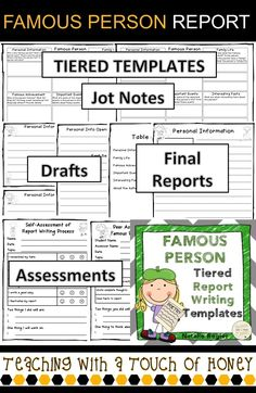 """Report writing can be challenging for students. Use these famous person tiered report writing templates with your students as they work through the report writing process.  The """"Famous Person Report Writing"""" package contains materials to support your students as they write a report on a famous person."""