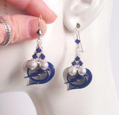 Tampa Bay Lightning Silver Star Dust Bead Navy Crystal Pro Hockey Women's Dangle Earrings