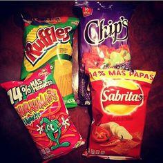 Chips, Churrumais, Sabritas Adobada, Chips Fuego, Ruffles Queso