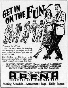 From the April 1957 issue of the University of Richmond's newspaper The Collegian comes this ad for roller skating at the Richmond Are. Roller Skating Rink, Roller Rink, Roller Skating Pictures, Private Dance Lessons, People Having Fun, Skate Party, Retro Images, Old Ads, Vintage Ads