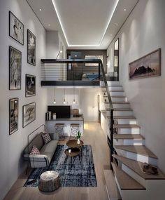 Loft House Design, Tiny House Loft, Loft Interior Design, Tiny House Living, Small House Design, Modern House Design, Living Room, Luxury Interior, Loft Apartment Decorating