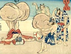 In the Japanese ukiyo-e master Utagawa Kuniyoshi created a number of woodblock prints showing legendary tanuki (raccoon dogs) using their humorously large scrota in creative ways. Here: weightlifting practice Japan Illustration, Japanese Artwork, Japanese Prints, Folklore Japonais, Japon Tokyo, Japanese Mythology, Japanese Monster, Fable, Kuniyoshi