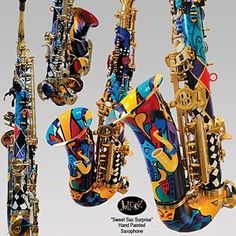 "Colorful Alto Saxophone Hand Painted By Juleez Lazarro Saxophone. Hand Painted Saxophone by artist Julie Borden of Juleez. Features a NEW hand painted Lazarro Alto Saxophone, Case, Neck Strap and Reeds. You may choose this design, ""Sweet Sax Surprise"" or have it customized with any other themes, idea, etc. EB E-Flat Alto Saxophone has High F# and front F key. Made from Real BRASS and has Hand Engraved Bell Decoration, High Quality Leather Pads with Metal Resonators, Adjustable Key Height..."