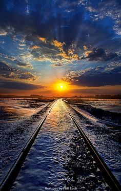 Winter in train tracks, Wisconsin, United States