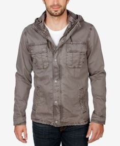 Lucky Brand Men's Hooded Tech Jacket  - Gray 2XL