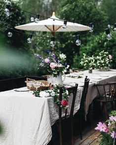 Garden party decoration prepared by is more than perfect. Linen table cloth and giełd lowers under the umbrella in oriental style💚🖤 The post Garden party decoration prepared by Garden Party Decorations, Table Decorations, Big Leaf Plants, Outdoor Living, Outdoor Decor, Garden Stones, Summer Garden, Garden Inspiration, Beautiful Gardens