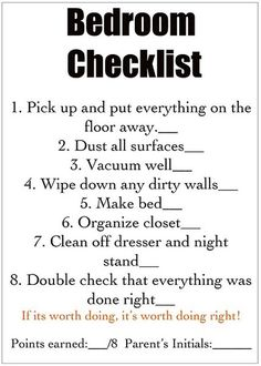 Chore list for kids - part of morning/afternoon choresgoing in my 13yr olds room