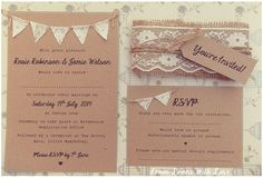 Rustic Wedding Invitation Lace Bunting on Kraft Card with Burlap and Lace band .  Are you tying the knot soon? Try something different with these unique rustic invitations. Made from brown recycled Kraft card with the cutest mini lace bunting on twine.  The full set includes: - Invitation with matching envelope - RSVP Card - Tied with twine - Youre Invited Tag. - Burlap & Lace Band = £4.65 each Discount can be offered when ordering +100 full sets: Full set = £4.15.  OR For Invitation (with…
