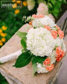 White hydrangea wedding Bouquet with Peach Carnation by jeannette Carnation Bridal Bouquet, Hydrangea Bouquet Wedding, Peach Bouquet, Wedding Flower Arrangements, Wedding Bouquets, Wedding Centerpieces, Floral Arrangements, Prom Flowers, Wedding Flowers