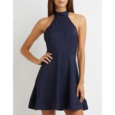 Charlotte Russe Mock Neck Halter Skater Dress ($33) ❤ liked on Polyvore featuring dresses, navy, full skirt, navy blue skater dress, open back dresses, navy blue halter dress and halter skater dress