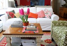 Love the colors with white slip covered couch