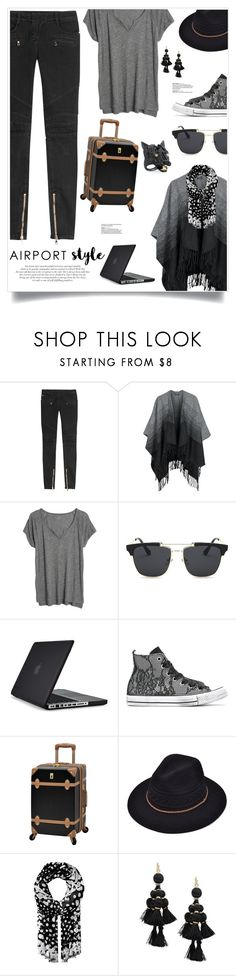 """""""Jet Set: Airport Style"""" by nosleeptilbrooklyn ❤ liked on Polyvore featuring Balmain, Sublevel, Madewell, Speck, Converse, Roberto Cavalli, Marc Jacobs, Kate Spade, Alexis Bittar and contestentry"""