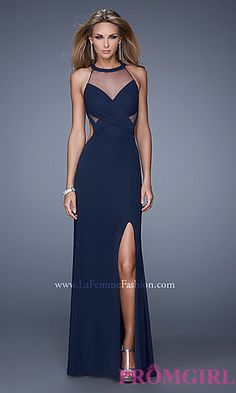Long High Neck Prom Dress by La Femme at PromGirl.com