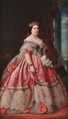 Isabel II (1830-1904) -  queen regnant of Spain - potrait in 1858 - big volume dress, showing shoulder, pink silk, lace detail, tiara, bracelet, pearl necklace. - I pinned it because i love her dress and pink color