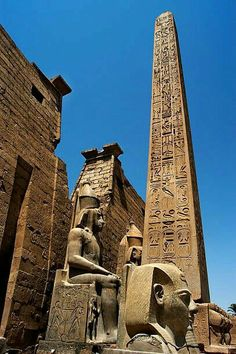 Luxor temple, Luxor Egypt  This is the facade of the temple with the Egyptian obelisk (Cleopatra's needle) and king Ramsis II stautes. If you would like to visit Egypt and you need to arrange affordable day trips please don't hesitate to contact us  Egyptsunset@windowslive.com  Www.Egyptsunset.net #egypt #cairo #aswan #luxorhotel  #travel #travelblog #travelbloggers  #travelphotographer #Egyptsunsettours​ #middleeastern  #cruising #photographer #photography #nature  #beautyful #architecture