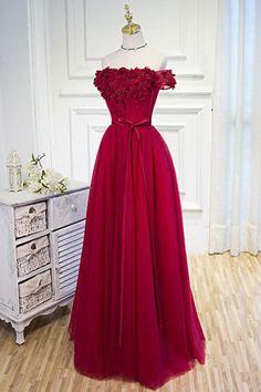 Elegant off shoulder prom dress, hot pink chiffon prom dress, ball gown 2017