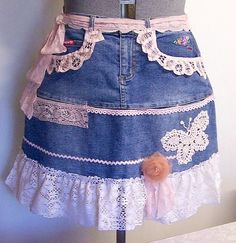 LADIES HALF APRON Recycled and Re-Purposed Denim by NestInTheAttic