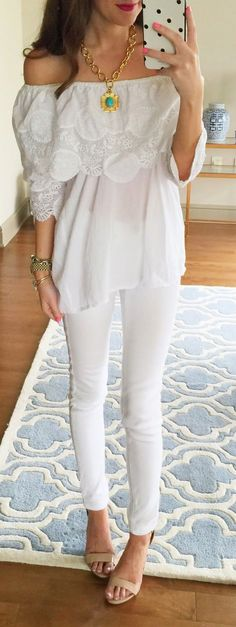 Off Shoulder White Top Streetstyle by Southern Curls and pearls